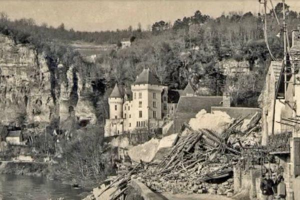 L'effondrement de la roche de la Roque-Gageac, un des événements qui a marqué le département de la Dordogne