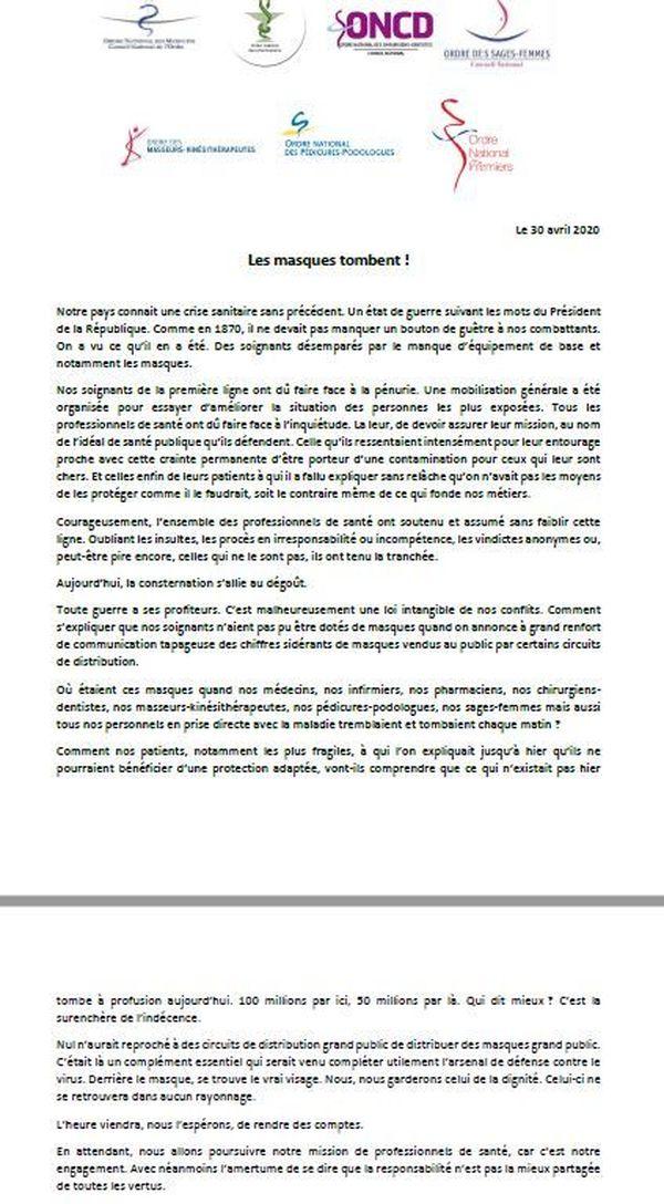 Lettre ouverte au ministre de la Santé des corps de métiers de la santé le 30 avril 2020