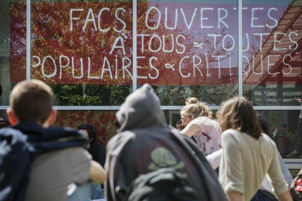 PHOTO D'ILLUSTRATION. Le campus l'Université de Nanterre bloqué en avril 2018 lors d'un mouvement de contestation de la réforme de l'éducation supérieure.