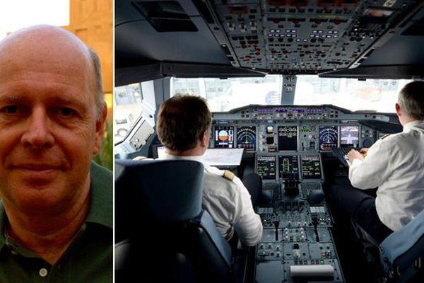 Jan Cocheret, pilote néerlandais. L'intérieur d'un cockpit.