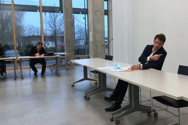 5 Janvier 2021-  Conférence de presse au Hangar 108 de Rouen de Nicolas Mayer-Rossignol, maire de Rouen et président de la Métropole Rouen Normandie