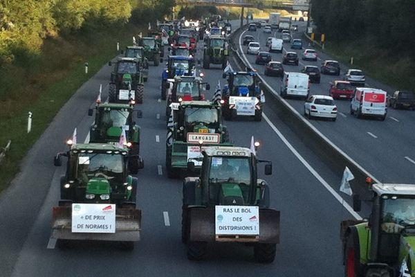 Le cortège des tracteurs sur la rocade sud de Rennes