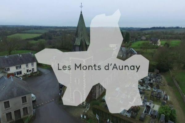 Les Monts d'Aunay regroupant Aunay-sur-Odon, Bauquay, Campandré-Valcongrain, Danvou-la-Ferrière, Ondefontaine, Le Plessis-Grimoult et Roucamps