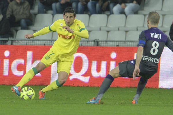 Bedoya en pleine action lors du match Nantes TOulouse à la Beaujoire le 2 décembre 2014