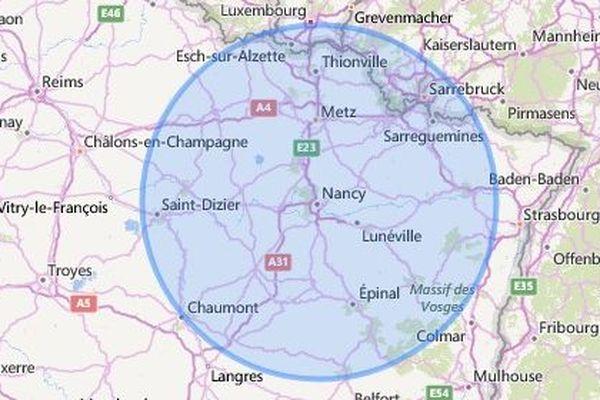 La carte des 100 km, à partir de Nancy (Meurthe-et-Moselle)