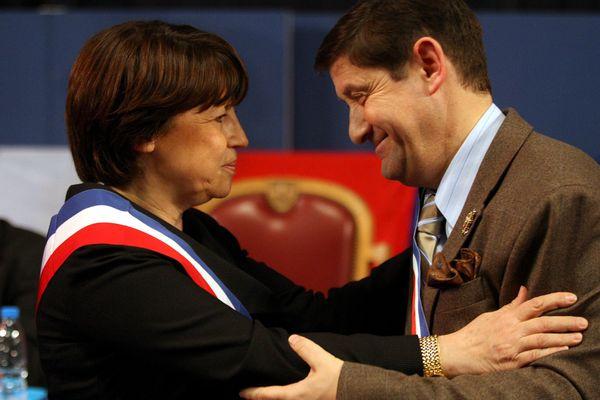 Martine Aubry et Patrick Kanner, lors d'un conseil municipal à Lille en 2008.