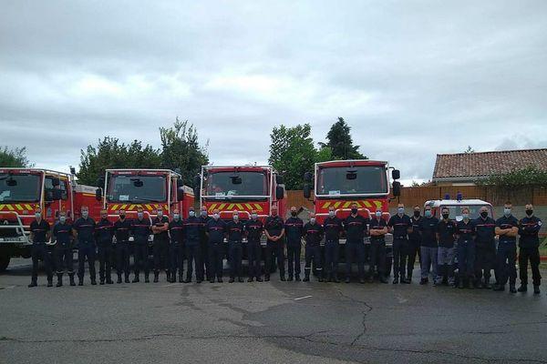 25 pompiers de Haute-Garonne, du Tarn et de l'Ariège en renfort dans l'Aude, vers Narbonne - septembre 2020.