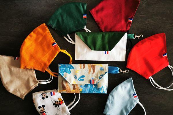 """erwanna a créé des pochettes déperlantes, des masques adultes, enfants, et sa propre marque """"Maskapart"""""""