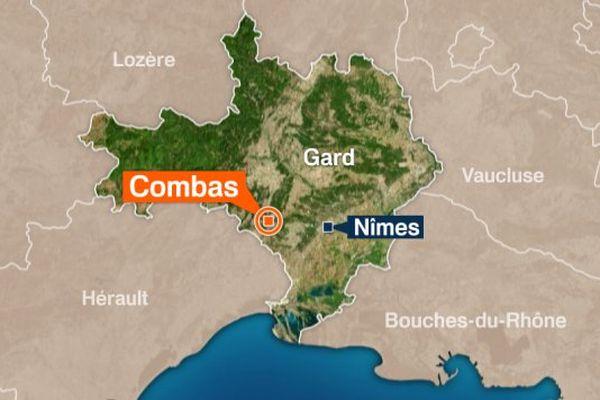 Carte Combas (Gard)