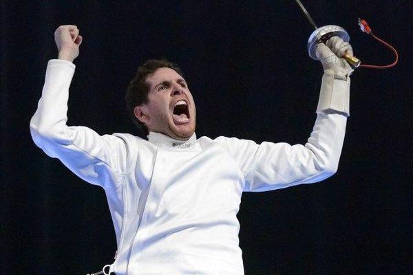 Le Nivernais Gauthier Grumier, numéro un mondial et champion d'Europe d'épée, lors des Championnats d'Europe à Montreux, en Suisse, en juin 2015.