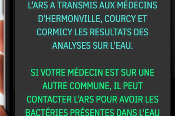 """<p class=""""p1"""">Sur le panneau municipal, ce message. """"L'Ars a transmis aux médecins d'Hermonville, Courcy et Cormicy les résultats des analyses sur l'eau. Si votre médecin est sur une autre commune, il peut contacter l'ars pour avoir les bactéries présentes dans l'eau"""".</p>"""