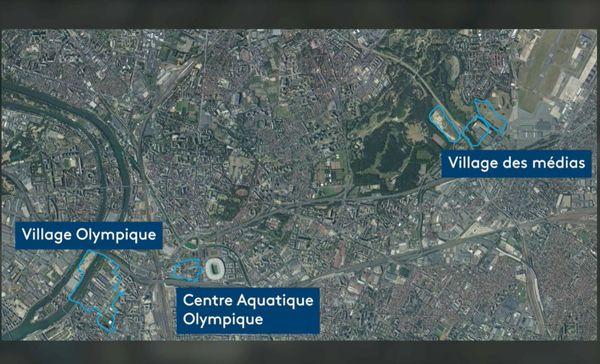 Le village olympique, le centre aquatique, et le pôle des médias prévus pour Paris 2024.