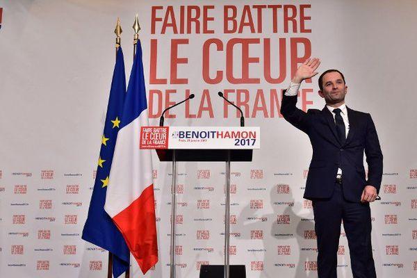 Benoît Hamon vainqueur de la primaire de la gauche le 29 janvier 2017.