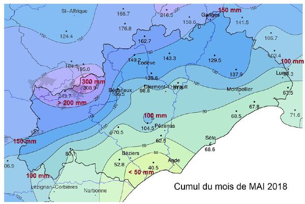 Hérault : cumul de précipitations du mois de mai 2018