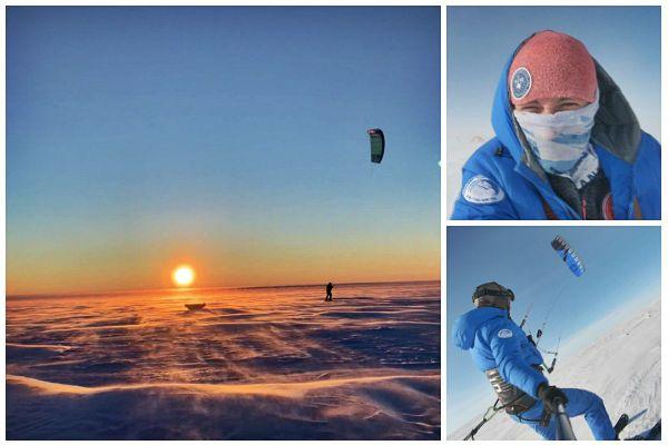 L'explorateur normand a traversé ce désert blanc en un mois à l'aide de ski-kite