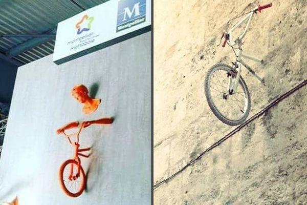 """A gauche : le vélo """"encastré"""" du stand de la foire de Montpellier. A droite : un vélo """"encastré"""" signé Monsieur BMX."""