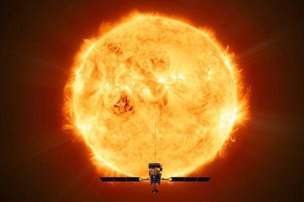 La sonde Solar Orbiter face au soleil
