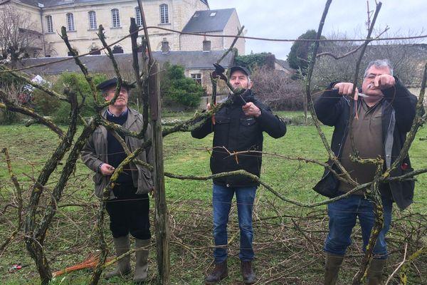 J. Lorieux, Y. Amirault et P. Gauthier ont participé à cette journée de sauvegarde des vieux cépages