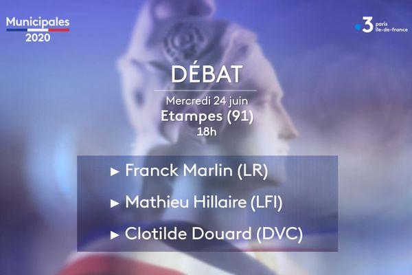 Les trois candidats Franck Marlin (LR), Mathieu Hillaire (LFI) et Clotilde Douard (DVC) débattent sur France 3 Paris Ile-de-France.