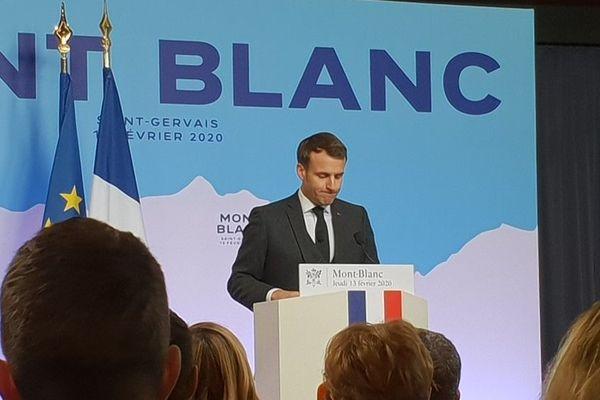 Emmanuel Macron en conférence de presse à Saint-Gervais.