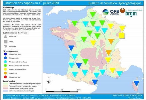 Etat des nappes phréatiques françaises au 1er juillet 2020