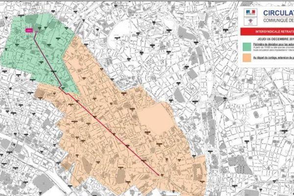 La carte des restrictions de circulation pour la manifestation du jeudi 5 décembre