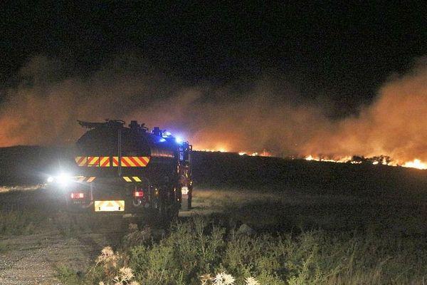 Zone militaire d'Opoul - 15 hectares de végétation brûlée - 25 septembre 2018.