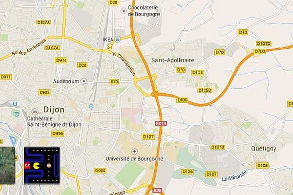 Avec Google Maps, jouez au jeu vidéo Pac-Man dans les rues de Dijon et d'autres villes de Bourgogne