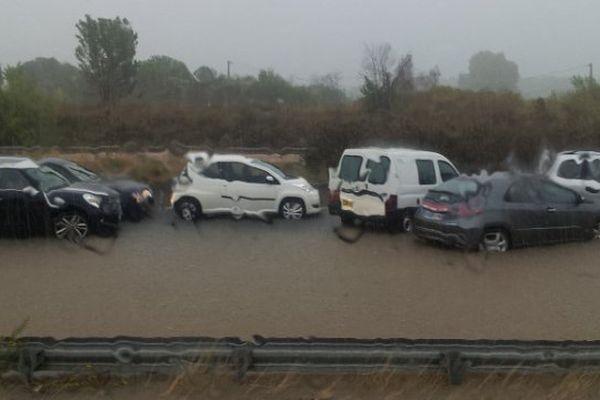 Inondations à Montpellier aux abords de l'aéroport le 29 septembre 2014