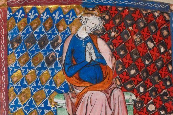 Réprésentation d'Henry Ier dans un manuscrit du XIVe siècle.