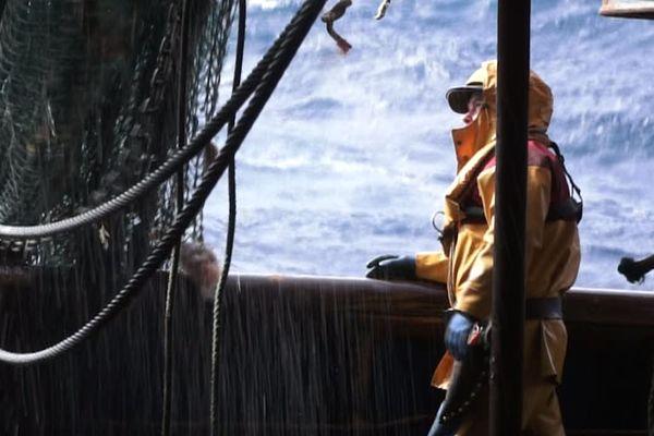 Pêcheur du Guilvinec en campagne de pêche en mer Celtique