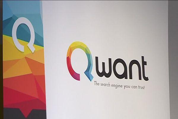 Le logo et le slogan du moteur de recherche niçois Qwant.