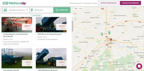 WeFarmUp permet de géolocaliser les annonces de location de matériel