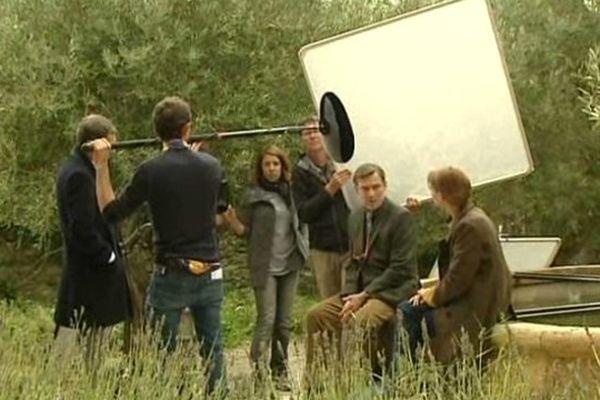"""Sur le tournage de """"meurtre à Carcassonne"""" en novembre 2014."""