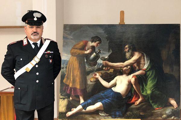 """Le tableau """"Loth avec ses deux filles lui servant à boire"""", attribué au peintre français du 17e Nicolas Poussin, vient d'être retrouvé en Italie, plus de 75 ans après qu'il a été volé par les soldats allemands pendant l'occupation de Poitiers en 1944."""