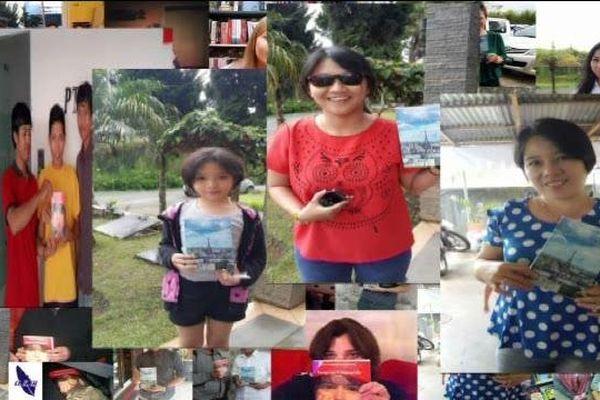 Les lecteurs de Laurent André en Indonésie se photographient avec son livre.