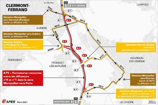 Le lundi 22 mars, près de Clermont-Ferrand, la circulation sera déviée sur l'autoroute A75.