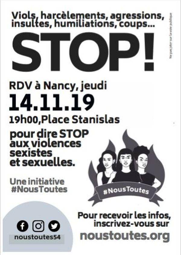 """L'affiche du rassemblement contre les violences faites aux femmes à l'initiative de """"Nous Toutes"""" le 14 Novembre à 19h00 place Stanislas à Nancy."""