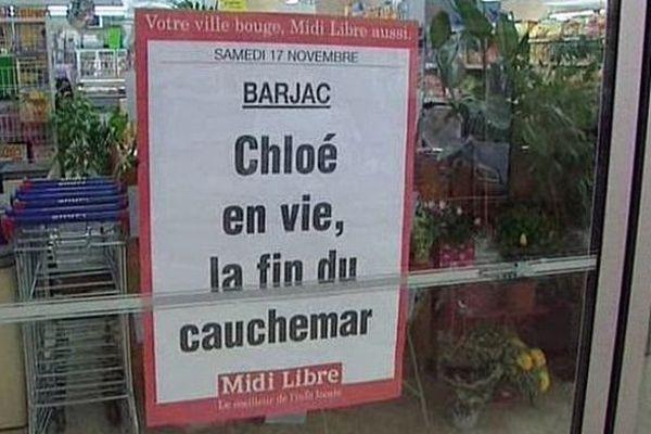 Barjac (Gard) - tous les commerçants annoncent le retour de Chloe - 17 novembre 2012.