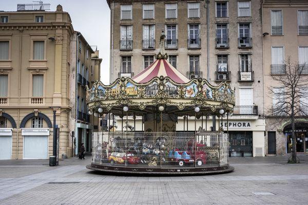 Le centre-ville de Perpignan, à l'heure du confinement, le 23 mars.