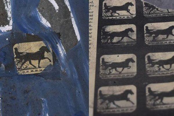 A gauche : un collage effectué par l'artiste sur l'un des casiers. A droite : un journal de septembre 1991, d'où provient le collage.
