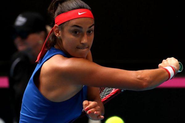 Caroline Garcia à Perth en Australie, lors de la finale de la Fed cup, le 9 novembre 2019.