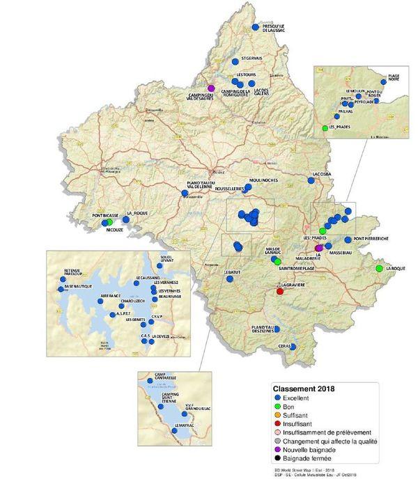 Carte de la qualité des eaux de baignade en eau douce en Aveyron.