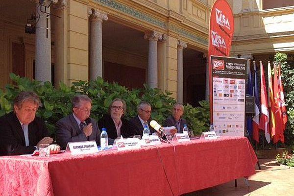 Perpignan - conférence de presse de Visa pour l'image, le festival de photojournalisme - 6 mai 2015.