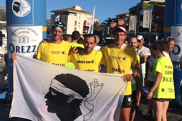 L'éqiupe corse, Guillaume Peretti, Florent Maurin et Marc-Antoine Pierlovisi, remporte le Corsica Raid Adventure 2017.