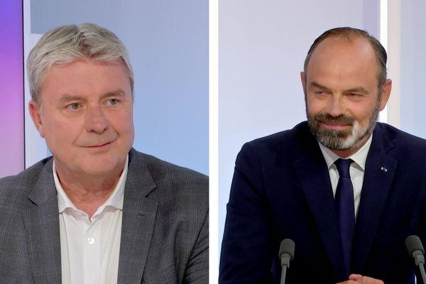 Jean-Paul Lecoq et Edouard Philippe le 22 juin 2020 lors du débat du second tour des municipales du Havre en direct sur France 3 Normandie