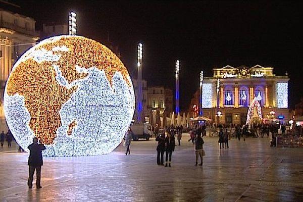 Place de la Comédie à Montpellier pendant les fêtes de Noël décembre 2014.