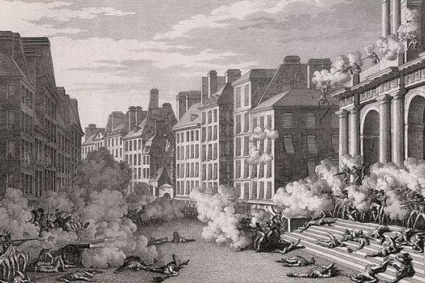 5 octobre 1795, 25.000 insurgés marchent sur la Convention. Napoléon Bonaparte qui a fait déployer descanons sur les marches de l'église Saint-Roch ouvre le feu sur les insurgés royalistes