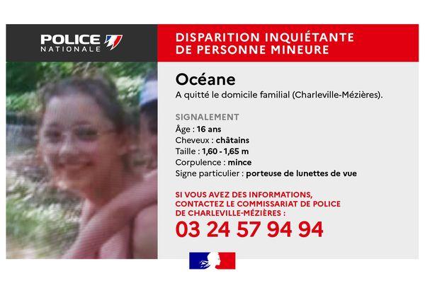 Océane a disparu de son domicile à Charleville-Mézières.
