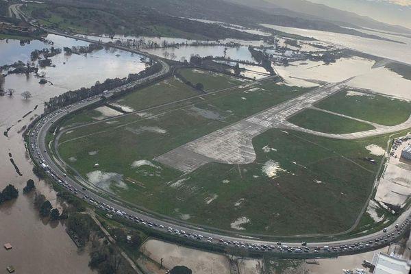 Les pistes de l'aéroport d'Ajaccio ont été complètement inondées lors des intempéries du week-end dernier.